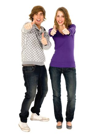 Young couple with thumbs up Stock Photo - 6009383