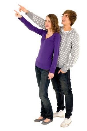 finger teen: Young couple pointing Stock Photo