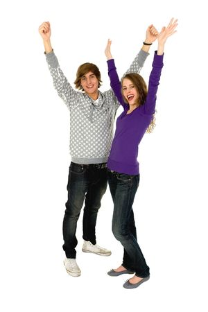 Couple with arms raised Stock Photo - 6009381
