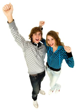Couple with arms raised photo