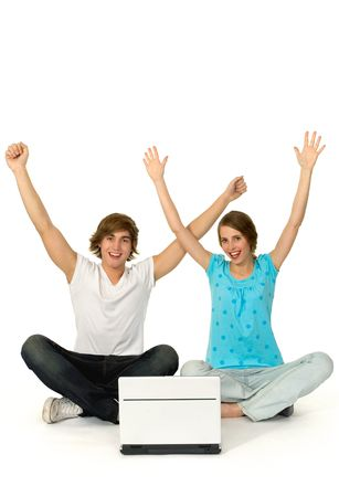 Couple with arms raised Stock Photo - 6031965