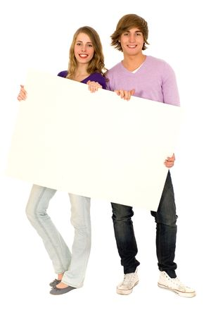 holding blank sign: Couple holding blank sign