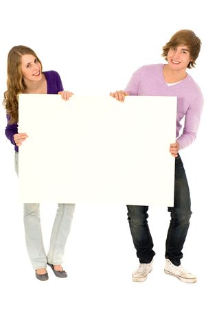 placard: Couple holding blank sign