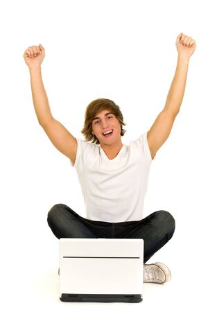 Casual guy sitting with laptop Stock Photo - 6055006