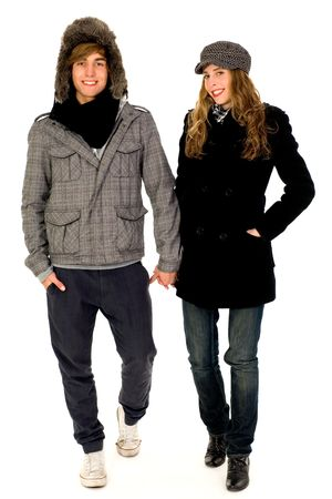 Couple in winter clothes photo