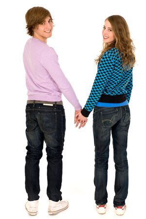 Couple holding hands photo