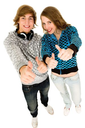 Happy teenagers with thumbs up Stock Photo - 6073813