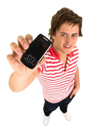 man with phone: Young man with cell phone