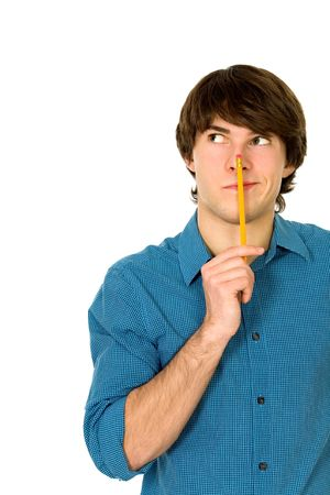 goofy: Young man holding pencil