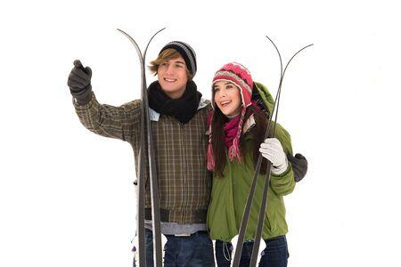 Couple holding skis Stock Photo - 6263484
