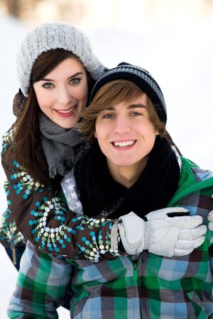 Couple in winter clothing photo