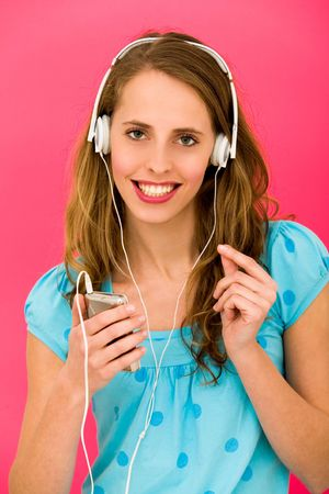 Young woman with MP3 player photo