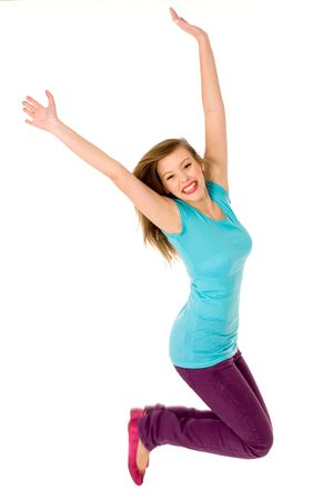 Young woman jumping photo