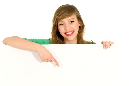 Girl pointing photo