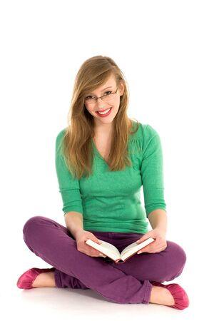 Girl reading book photo