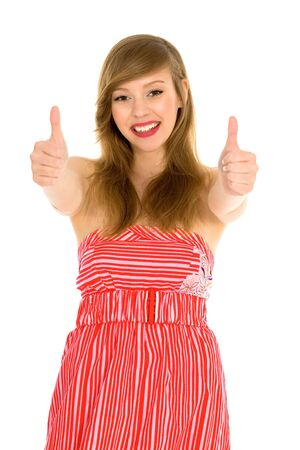 Girl with thumbs up photo