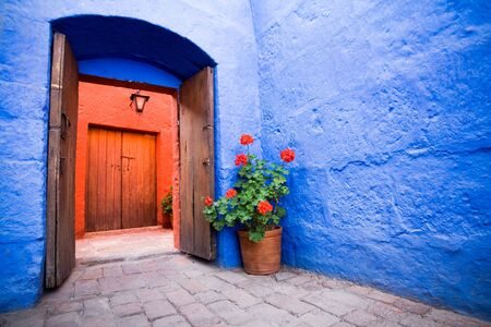 peru architecture: Santa Catalina Convent, Arequipa, Peru Stock Photo