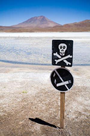 Warning sign, Altiplano, Bolivia photo