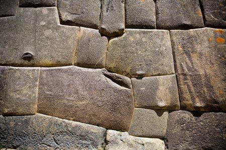 peru architecture: Incan stone wall, Ollantaytambo, Peru Stock Photo