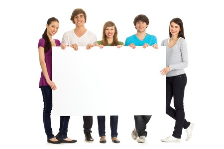 Friends Holding Blank Sign photo