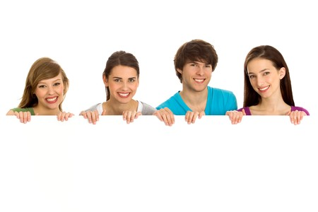 Young friends with a billboard photo
