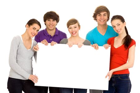 Young friends with a billboard Stock Photo - 6960880