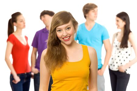 Beautiful girl with friends Stock Photo - 6960883