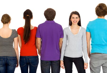 team from behind: Group of young people