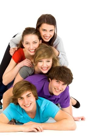 adolescentes riendo: Amigos Having Fun Foto de archivo