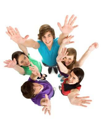gente saludando: Amigos agitando las manos