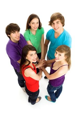 Freunde, die Hände Zusammenstellung Standard-Bild - 6960917