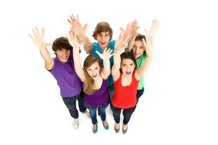 Friends waving hands photo