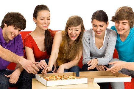 Friends Eating Pizza photo