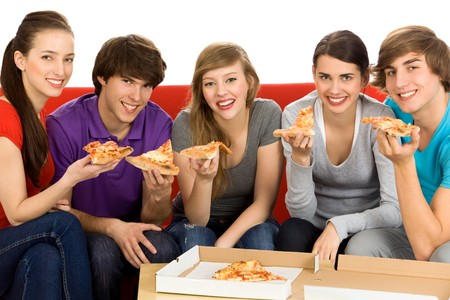 eating pizza: Friends Eating Pizza