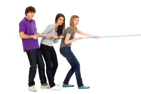 Friends pulling a rope photo