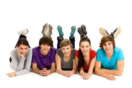 Friends lying down on the floor Stock Photo - 6960911