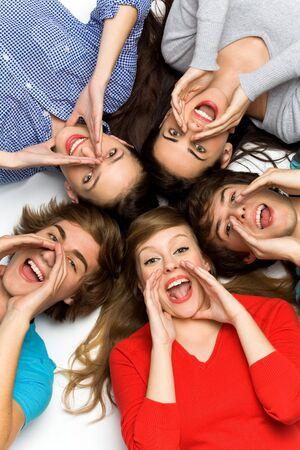 happy teenagers: Teenagers shouting