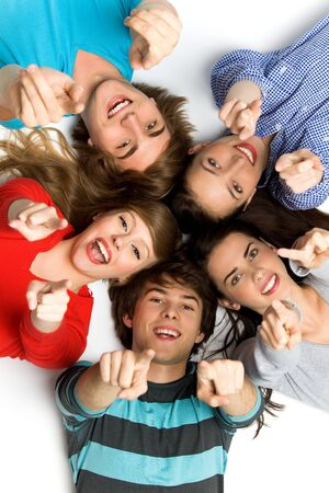 Friends pointing their fingers photo