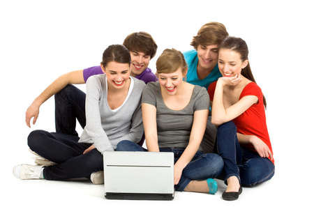 Friends using laptop Stock Photo - 7013627