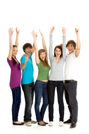 Friends with arms raised Stock Photo - 7013631