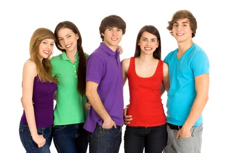 Group of five young friends  photo