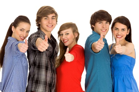 Young people with thumbs up Stock Photo - 7052667