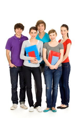 man holding book: Happy students