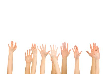 hands raised: Many hands high up
