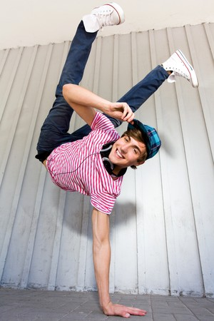 breakdancer: Man Balancing on One Hand