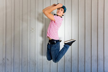enthusiasm: Young man jumping
