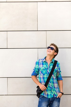 Student standing against wall Stock Photo - 7367561