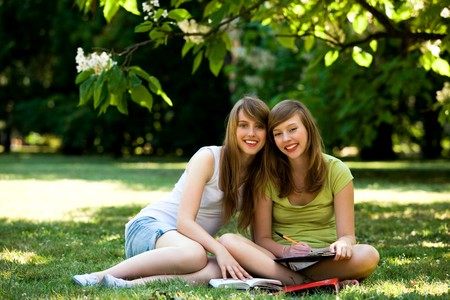 Girls studying outdoors photo