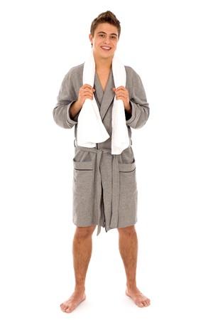 bath robe: Man in bathrobe