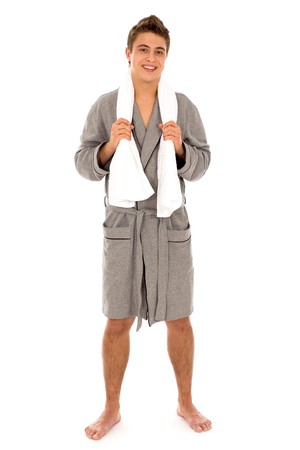 robe: Man in bathrobe